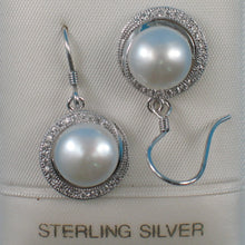 Load image into Gallery viewer, Sterling Silver 925 Set C.Z. & White Cultured Pearls Beautiful Hook Earrings