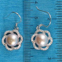 Load image into Gallery viewer, Sterling Silver 925 Set C.Z. & Pink Cultured Pearls Beautiful Hook Earrings