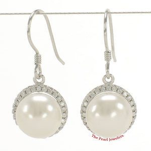 925 Sterling Silver & C.Z Beautiful White Cultured Pearls Hook Earrings