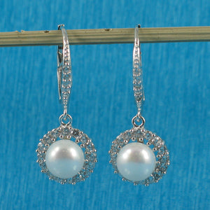 Beautiful Design Solid Silver .925 White Cultured Pearls Leverback Earrings