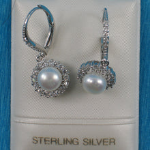 Load image into Gallery viewer, Beautiful Design Solid Silver .925 White Cultured Pearls Leverback Earrings