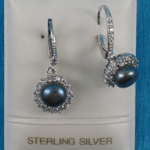 Solid Silver .925 Beautiful Design Black Cultured Pearls Leverback Earrings