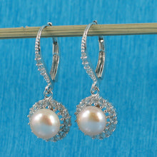 Load image into Gallery viewer, Romantic Pink Cultured Pearls Solid Silver .925 Lever Back Earrings