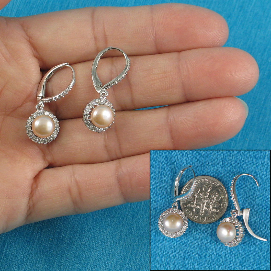 Romantic Pink Cultured Pearls Solid Silver .925 Lever Back Earrings