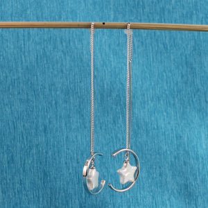 Beautiful Solid Sterling Silver Threader & White Coin Pearl Dangle Earrings
