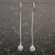 Load image into Gallery viewer, Solid Sterling Silver Box Chain Threader & Black Pearl Drop/Dangle Earrings