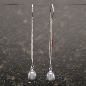 Solid Sterling Silver Box Chain Threader & Black Pearl Drop/Dangle Earrings