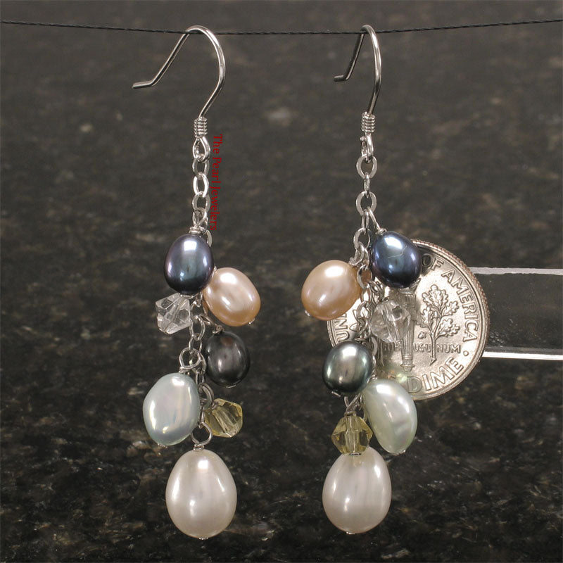 925 Sterling Silver O Chain Handcrafted Max Size Pearl Dangle Hook Earrings