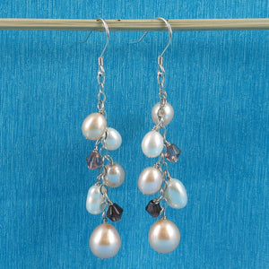 Solid Silver 925 O Chain Handcrafted & Max Size Pearl Dangle Hook Earrings