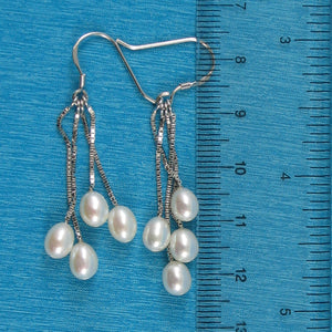 925 Sterling Silver Box Chain Hook; White Cultured Pearl Dangle Earrings