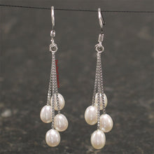 Load image into Gallery viewer, 925 Sterling Silver Box Chain Hook; White Cultured Pearl Dangle Earrings