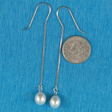 Load image into Gallery viewer, Solid Silver 925 Box Chain Hook White F/W Cultured Pearl Dangle Earrings