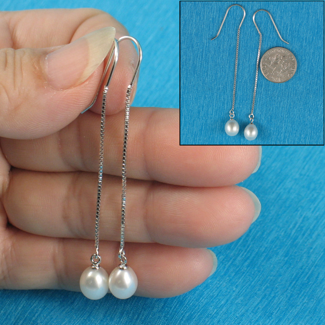 Solid Silver 925 Box Chain Hook White F/W Cultured Pearl Dangle Earrings