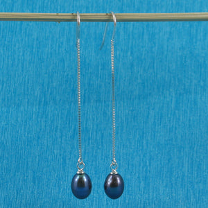 Solid Silver 925 Box Chain Hook Black F/W Cultured Pearl Dangle Earrings