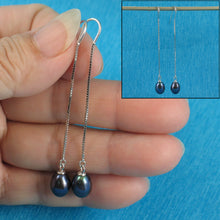 Load image into Gallery viewer, Solid Silver 925 Box Chain Hook Black F/W Cultured Pearl Dangle Earrings