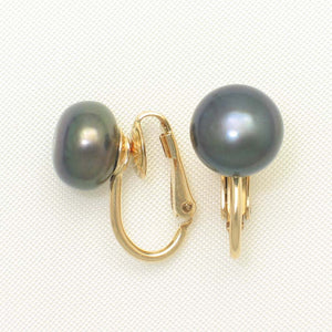 14K YELLOW GOLD FILLED NON-PIERCED CLIP ON BLACK CULTURED PEARLS EARRINGS