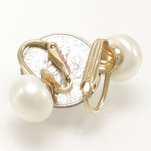 Load image into Gallery viewer, 1/20 14k Gold Filled Non Pierced Clip On; 10.5mm White Cultured Pearls Earrings