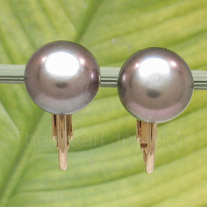 14K Yellow Gold Filled Non-Pierced Clip-On Black Cultured Pearl Earrings