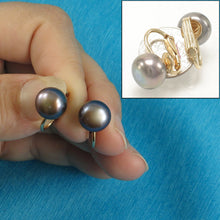 Load image into Gallery viewer, 14K Yellow Gold Filled Non-Pierced Clip-On Black Cultured Pearl Earrings