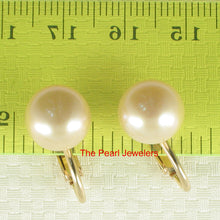 Load image into Gallery viewer, 1/20 14k Gold Filled Non-Pierced Clip On; 11mm Pink Cultured Pearls Earrings