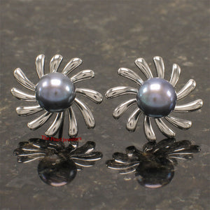 Solid Sterling Silver .925 Sun Shaped Black Cultured Pearl Stud Earrings