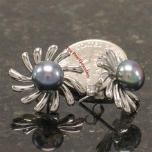 Load image into Gallery viewer, Solid Sterling Silver .925 Sun Shaped Black Cultured Pearl Stud Earrings