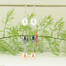 Load image into Gallery viewer, Sterling Silver 925 & M/C Cultured Pearl Handcrafted Dangle Hook Earrings