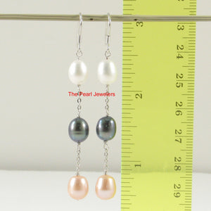Sterling Silver 925 & M/C Cultured Pearl Handcrafted Dangle Hook Earrings