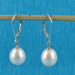 Solid Sterling Silver 925 Leverback White F/W Cultured Pearl Dangle Earrings