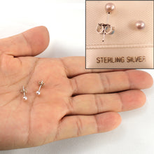 Load image into Gallery viewer, Round Cultured Pearl Stud Earrings, Sterling Silver