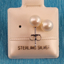 Load image into Gallery viewer, Sterling Silver Round White Freshwater High Luster AAA Pearl Stud Earrings