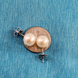 Sterling Silver .925 AAA 8-8.5mm White Cultured Pearl Stud Earrings