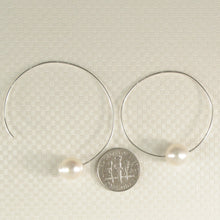 Load image into Gallery viewer, A Simple Handcrafted Hoop Solid Sterling Silver .925; White Cultured Pearl
