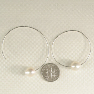 A Simple Handcrafted Hoop Solid Sterling Silver .925; White Cultured Pearl