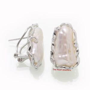 Solid Silver 925 Omega Clip; Genuine 9mm x 17mm White Biwa Pearl Earrings