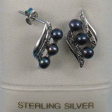 Load image into Gallery viewer, Black Cultured Pearl &16 Piece C.Z Stud Earrings made of Sterling Silver 925