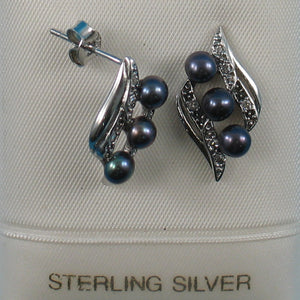 Black Cultured Pearl &16 Piece C.Z Stud Earrings made of Sterling Silver 925