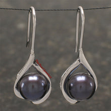 Load image into Gallery viewer, Solid Silver .925 Wave Shape; Black Freshwater cultured pearl Hook Earrings
