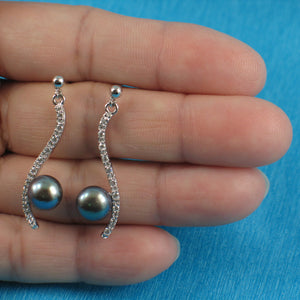 Sterling Silver Black Cultured Pearl & Cubic Zirconia Dangle Stud Earrings