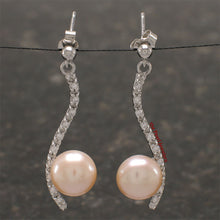 Load image into Gallery viewer, Solid Silver .925 Pink Cultured Pearl & Cubic Zirconia Dangle Stud Earrings
