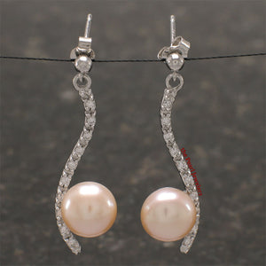Solid Silver .925 Pink Cultured Pearl & Cubic Zirconia Dangle Stud Earrings