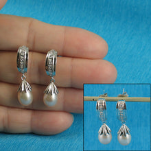 Load image into Gallery viewer, Solid Silver 925; Pink F/ W Cultured Pearls & Cubic Zirconia Dangle Stud Earrings