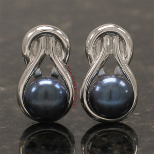 Sterling Silver 925 Love Knot Rhodium Finish; Black Cultured Pearls Stud Earrings