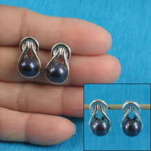 Load image into Gallery viewer, Sterling Silver 925 Love Knot Rhodium Finish; Black Cultured Pearls Stud Earrings