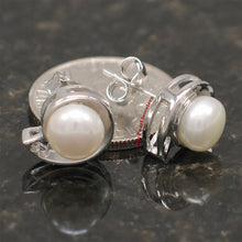 Load image into Gallery viewer, Sterling Silver 925 Rhodium Plated; White Genuine Cultured Pearl Stud Earrings