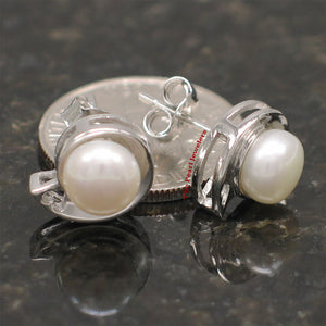 Sterling Silver 925 Rhodium Plated; White Genuine Cultured Pearl Stud Earrings