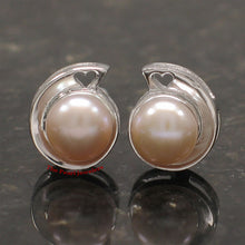 Load image into Gallery viewer, Sterling Silver 925 Rhodium Plated; Pink Genuine Cultured Pearl Stud Earrings
