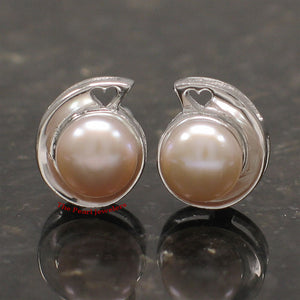 Sterling Silver 925 Rhodium Plated; Pink Genuine Cultured Pearl Stud Earrings