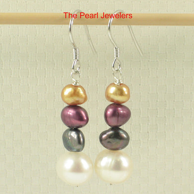 Sterling Silver Handcrafted Mix Size; Mix Color Cultured Pearl Hook Earrings