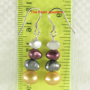 Mix Size; Mix Color Cultured Pearl Sterling Silver Handcrafted Hook Earrings